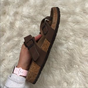 Shoes - Brown Birkenstock Inspired Strappy Sandals